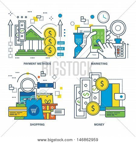 Concept of payment methods, shopping, money, mobile marketing. Color Line icons collection