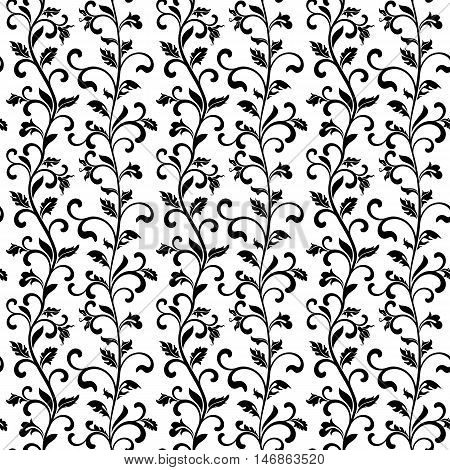 Seamless Pattern With Black Floral Tracery On A White Background