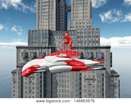 Computer generated 3D illustration with female robot on an air vehicle and skyscraper