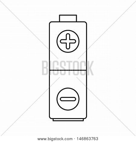 Battery icon in outline style on a white background vector illustration