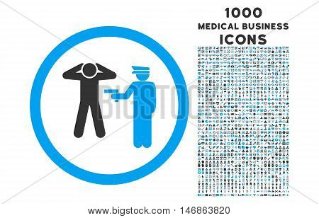 Arrest rounded glyph bicolor icon with 1000 medical business icons. Set style is flat pictograms, blue and gray colors, white background.