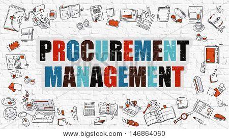 Procurement Management Concept. Modern Line Style Illustration. Multicolor Procurement Management Drawn on White Brick Wall. Doodle Icons. Doodle Design Style of Procurement Management Concept.