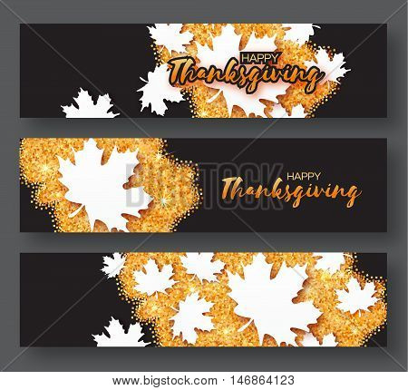 Happy Thanksgiving Day. Three Origami Autumn Greetings card