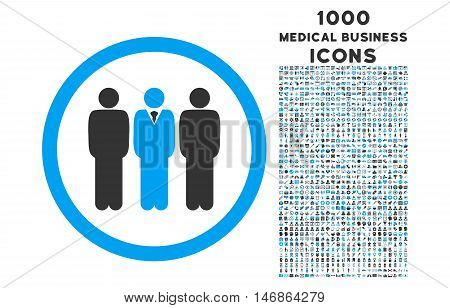 Clerk Staff rounded glyph bicolor icon with 1000 medical business icons. Set style is flat pictograms, blue and gray colors, white background.
