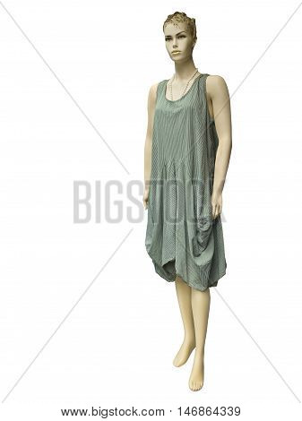 Full-length female mannequin dressed in green striped dress. Isolated on white background. No brand names or copyright objects.
