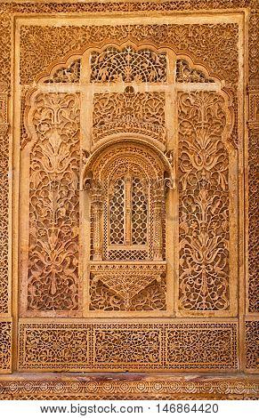 Carved window in Mandir Palace Jaisalmer Rajasthan India