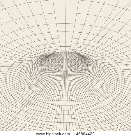 Wireframe mesh polygonal element. Torus with connected lines and dots. Vector Illustration .