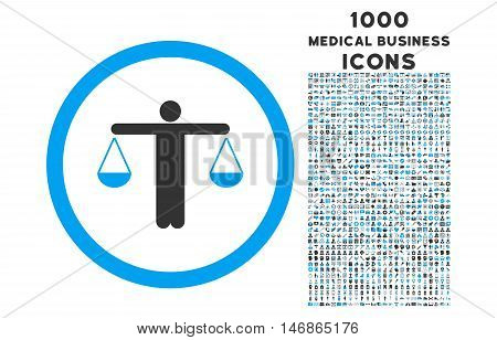 Lawyer rounded glyph bicolor icon with 1000 medical business icons. Set style is flat pictograms, blue and gray colors, white background.