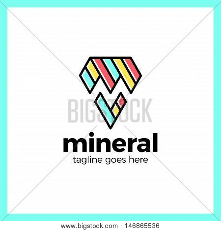 Letter M Negative Space Mineral Logo. Line Pin Diamond Triangle Logotype