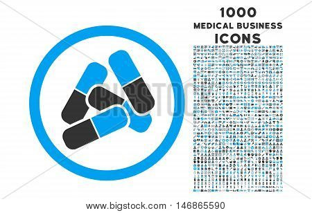 Pills rounded glyph bicolor icon with 1000 medical business icons. Set style is flat pictograms, blue and gray colors, white background.