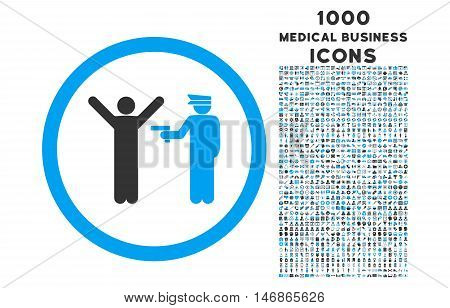 Police Arrest rounded glyph bicolor icon with 1000 medical business icons. Set style is flat pictograms, blue and gray colors, white background.