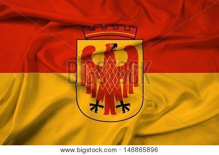 Waving Flag of Potsdam Germany, with beautiful satin background