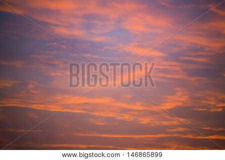 beautiful sky in sunset or sundown or daybreak blue and orange color outdoor as natural background with no people