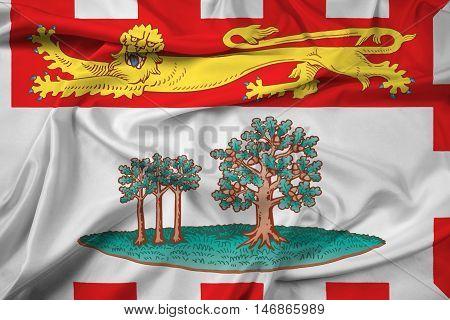 Waving Flag Of Prince Edward Island Province, Canada
