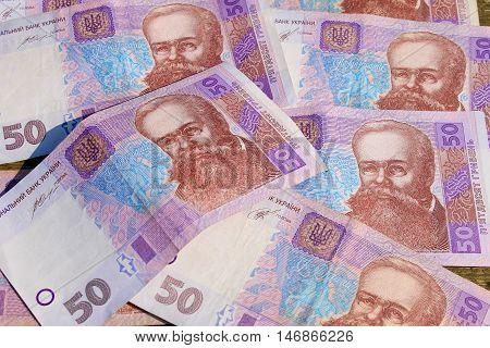 Background of the Ukrainian money hryvnia nominal value of fifty