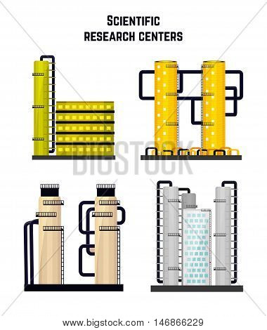 Research buildings laboratories and the medical biological centers. Vector illustration