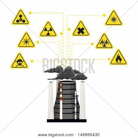Infographics nuclear energy and its impact on the environment 2. Vector illustration