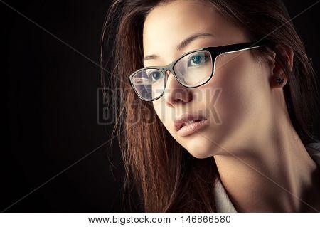 portrait Korean beautiful teenager girl isolated on black background