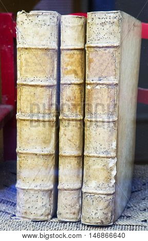 Three Very Old Books Standing