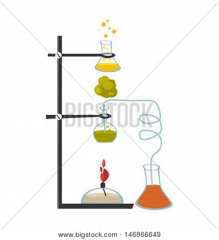 Chemical instruments and equipment. The chemical process of heating a liquid. Vector illustration