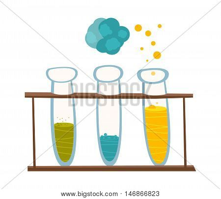 Chemical instruments and equipment. Beakers with reagents for experiments in the style of the cartoon. Vector illustration
