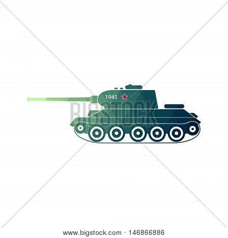 World War Two battle tank. Soviet medium tank side view. Retro icon tank. weapon vector illustration
