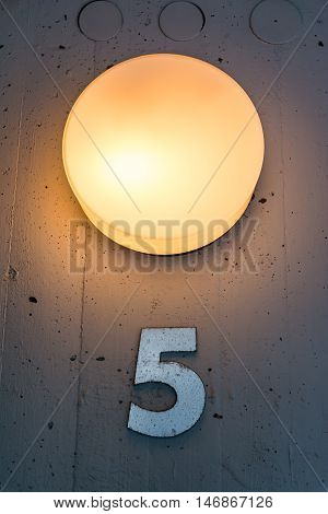 Five 5 Apartment Floor Number Map Wall Metal Light Decoration