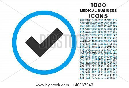 Accept rounded vector bicolor icon with 1000 medical business icons. Set style is flat pictograms, blue and gray colors, white background.