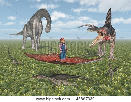 Computer generated 3D illustration with a child on a flying carpet and the dinosaurs Brachiosaurus, Spinosaurus and Velociraptor