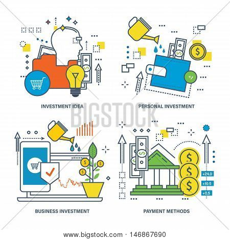 Concept of investment idea, personal and business investment, payment methods. Color Line icons collection.