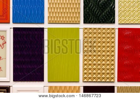 Colorful ceramic square tiles. Abstract surface textures.