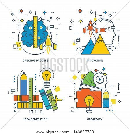 Concept of creative process, idea generation, innovation, creativity. Color Line icons collection