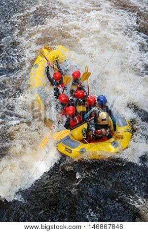 BALA GWYNEDD WALES SEPTEMBER 10 2016: White water rafting at the National White Water Centre on the River Tryweryn outside Bala North Wales