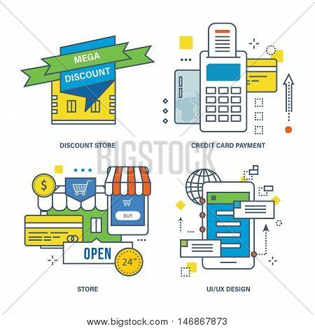 Concept of discount store, credit card payment, store, UX design. Color Line icons collection.