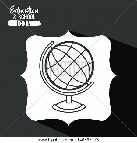 Sphere inside frame icon. Education school learning and study theme. Black and white design. Vector illustration