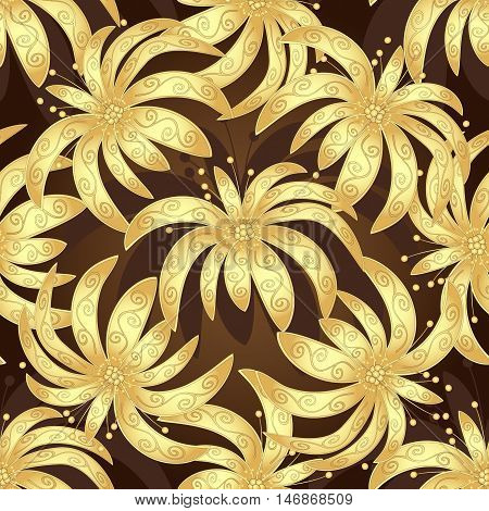 Seamless brown vintage pattern with golden lilies vector