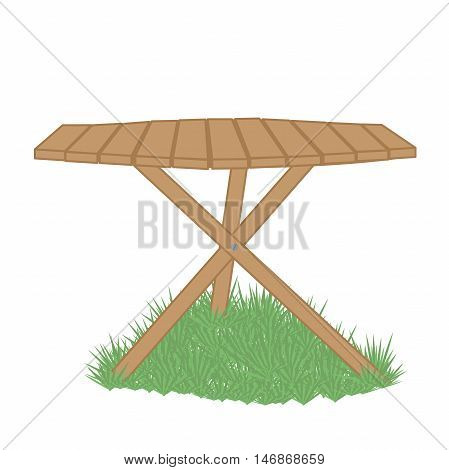 wooden garden table on a green lawn white background
