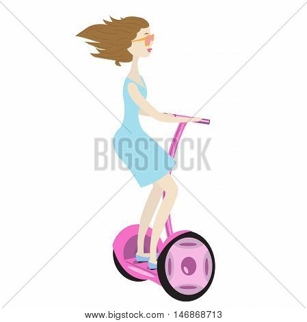 young brunette woman ride on a pink electric scooter outdoor