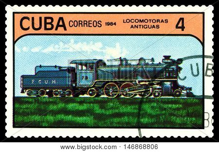 STAVROPOL RUSSIA - September 11 2016: A Stamp printed in the Cuba shows antique locomotive series circa 1984