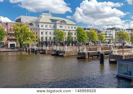 Regulating the water in the river Amstel city gateways. Amsterdam. Netherlands.
