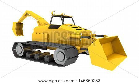 Computer generated 3D illustration with a compact tractor, front loader and backhoe