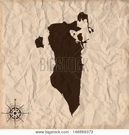 Bahrain old map with grunge and crumpled paper. Vector illustration