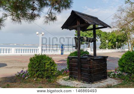 Stylized well on Gelendzhik waterfront. Gelendzhik Krasnodar Krai Russia.