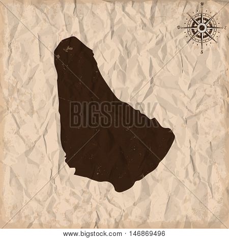 Barbados old map with grunge and crumpled paper. Vector illustration