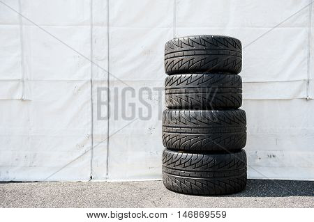 Set Of Motor Sport Car's Wet Racing Tires