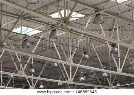 Elegant modern lighting system in sports hall
