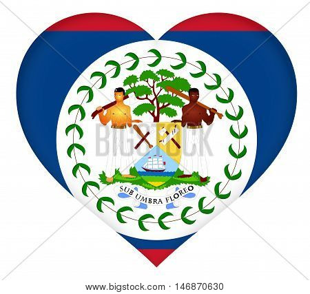 Illustration of the flag of Belize shaped like a heart