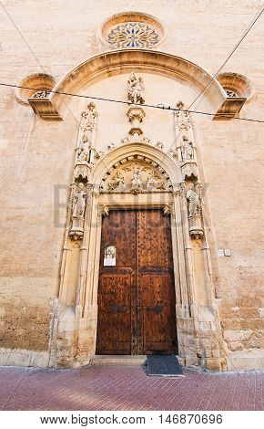 Entry Door To Church On Carrer San Miquel