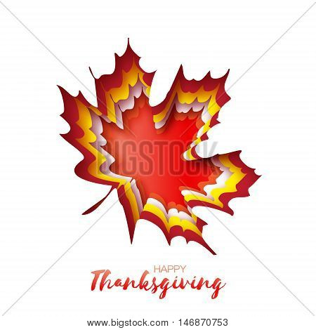 Happy Thanksgiving Day greeting card with origami autumn red maple leaves on white background with title. Paper cut Trendy Design Template.