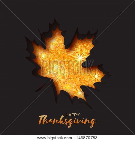 Happy Thanksgiving Day greeting card with origami autumn gold glitter maple leaves on black background with title. Paper cut Trendy Design Template.